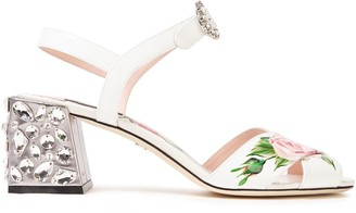 Dolce & Gabbana Embellished Floral-print Smooth And Patent-leather Sandals