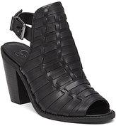 Jessica Simpson Celinna Leather Woven Slingback Peep Toe Block Heel Mules