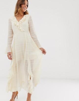 Asos Design DESIGN wrap maxi dress with frills in self stripe-Cream