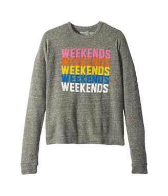 Original Retro Brand The Kids Super Soft Haaci Pulloever Weekends Sweatshirt (Big Kids) (Heather Grey) Girl's Clothing