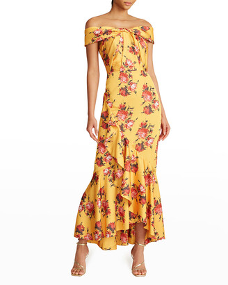 Theia Rylee Floral-Print Off-the-Shoulder Dress