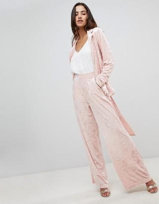 UNIQUE21 Unique 21 Velvet Wide Leg Pants Co-Ord-Pink