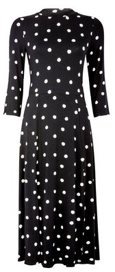 Dorothy Perkins Womens Black Spot Print Split Jersey Midi Dress, Black