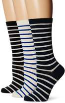 Ozone Women's Classic Stripe Crew Socks 3-Pack