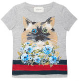 Gucci Children's cat and flowers t-shirt