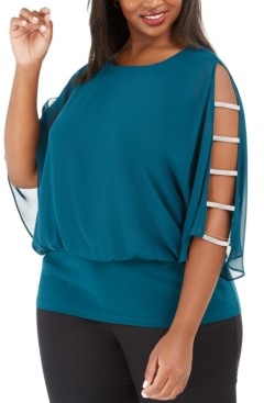 MSK Plus Size Rhinestone-Trim Blouson Top
