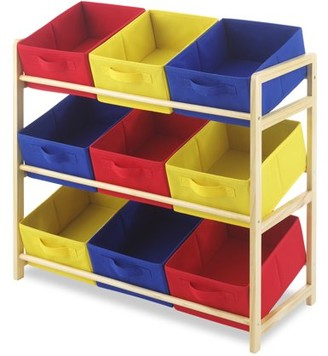 Whitmor Kid's 9-Bin Organizer with 9 Primary Color Storage Bins