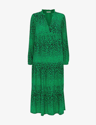 Whistles Enora animal-print crepe maxi dress