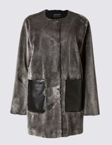 Marks and Spencer Faux Fur Patch Pocket Coat