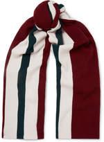 Acne Studios Ninos Striped Wool Scarf - Burgundy