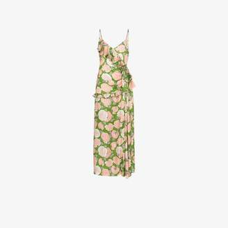 Miu Miu floral print ruffled silk dress