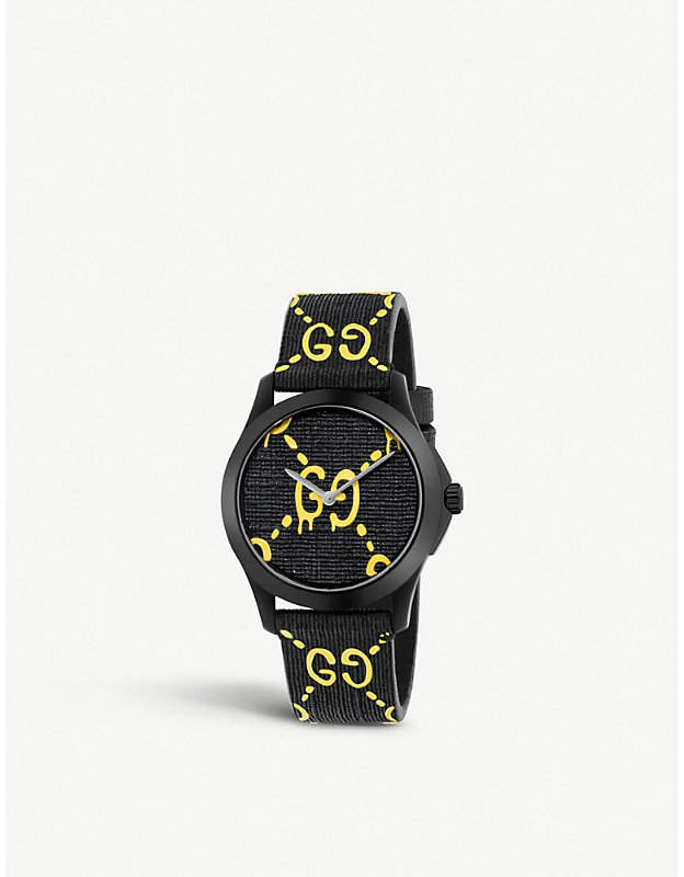 Gucci YA1264019 G-Timeless Ghost stainless steel and rubber watch