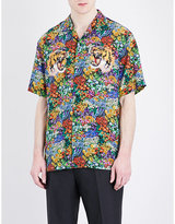 Gucci Floral And Tiger-print Silk Shirt