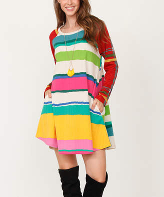 Egs By Eloges egs by eloges Women's Casual Dresses GREEN - Green, Yellow & Red Stripe Plaid Long-Sleeve Shift Dress - Women