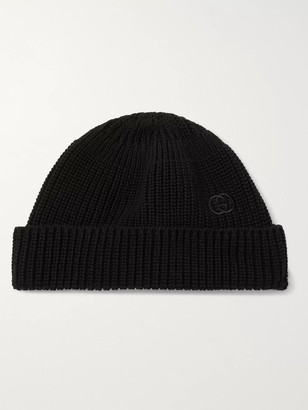 Gucci Logo-embroidered Cable-knit Cotton Beanie - Black