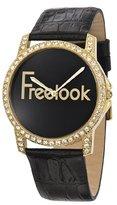 Freelook Women's HA8158G-7 Gold Tone Swarovski Bezel Black Dial Leather Band Watch