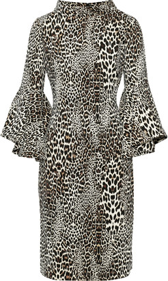 Badgley Mischka Leopard-print Crepe Dress