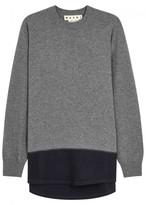 Marni Grey Panelled Wool Jumper