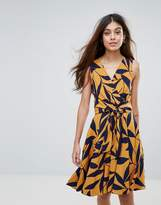 Closet London Closet Leaf Print Front Tie Dress