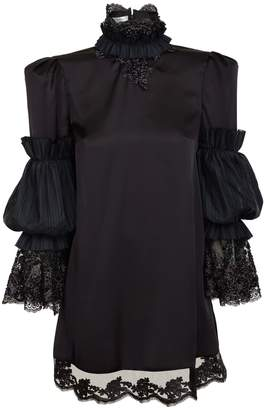 Jiri Kalfar Black Silk Dress With High Neck And Embroidery