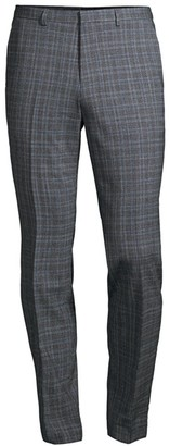 HUGO BOSS Wool-Blend Checkered Trousers