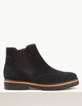 M&S CollectionMarks and Spencer Wide Fit Suede Brogue Ankle Boots