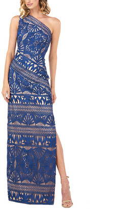 Kay Unger One-Shoulder Chemical Lace Slit Gown