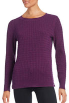 Karen Scott Petite Cable Knit Side-Button Sweater