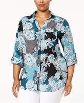 Charter Club Plus Size Printed Utility Shirt, Created for Macy's