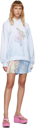 I'm Sorry by Petra Collins Im Sorry by Petra Collins SSENSE Exclusive Blue and White Graphic Pullover Hoodie