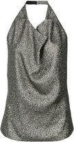 Lanvin metallic (Grey) cowl-neck top