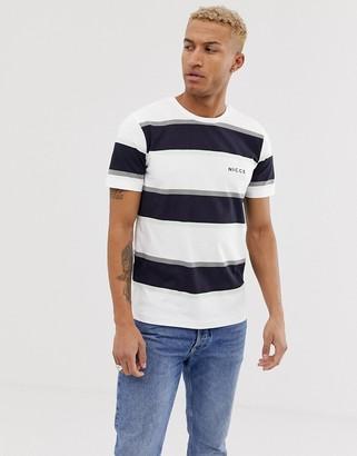 Nicce stripe t-shirt in white