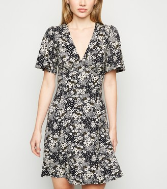 New Look Ditsy Floral Jersey Skater Dress