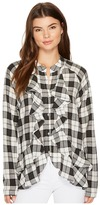 Nicole Miller Classic Plaid Ruffle Blouse Women's Clothing