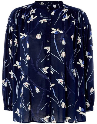 Gant Grandad Collar Snowdrop Printed Shirt