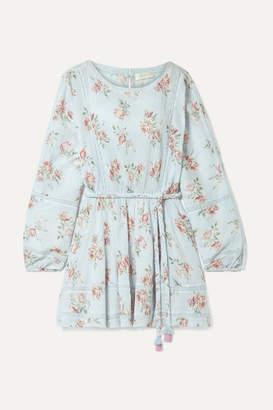 LoveShackFancy Noelle Crochet-trimmed Floral-print Cotton-crepon Mini Dress - Blue