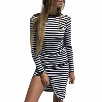 HOOUDO Women Dress Fashion Casual Sexy Long Sleeve Striped Print Bodycon O-Neck Backless Mini Dress(2XL