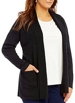 Allison Daley Plus Open Front Shawl Collar Cardigan