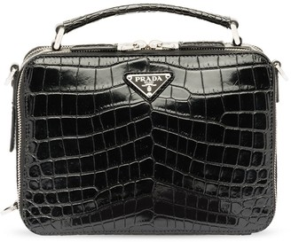 Prada Embossed Crocodile Effect Messenger Bag
