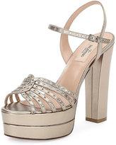 Valentino Garavani Love Latch Metallic Platform Sandal, Alba