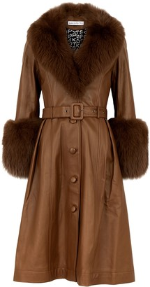 Saks Potts Foxy brown fur-trimmed leather coat