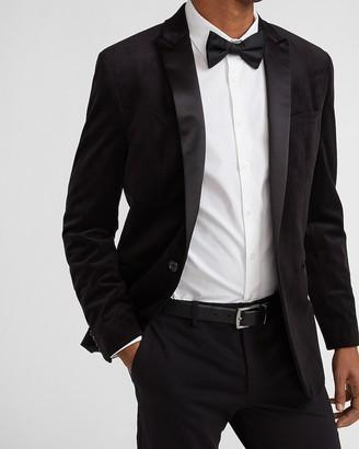 Express Slim Solid Black Velvet Tuxedo Jacket