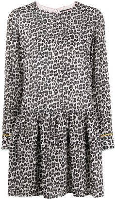 Twin-Set Leopard-Print Peplum Dress