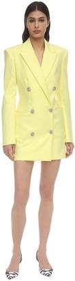 The Attico Stretch Cotton Blazer Mini Dress W/Jewel