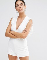 Oh My Love Wrap Over Romper With Fringe Trim