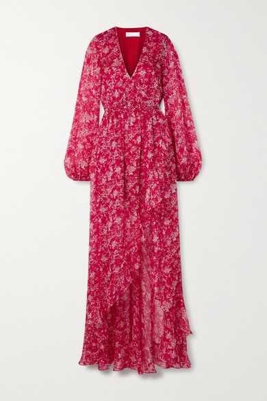 Caroline Constas Liv Wrap-effect Floral-print Silk-chiffon Maxi Dress - Red