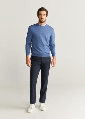 MANGO MAN - Elbow patches cashmere cotton sweater sky blue - M - Men