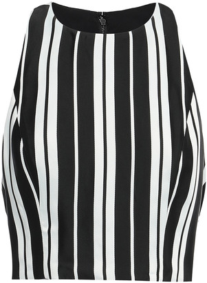 Alice + Olivia Cropped Striped Satin-twill Top
