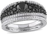 Julie Leah 1 1/4 CT TW Black and White Diamond Sterling Silver Bridal Set