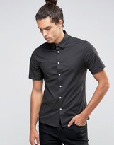 Asos Skinny Shirt With Short Sleeves In Mid Gray